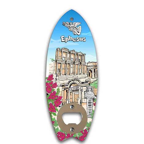 Efes Temalı Myros Ahşap Sörf Tahtası Açacak Magnet 185x72 mm