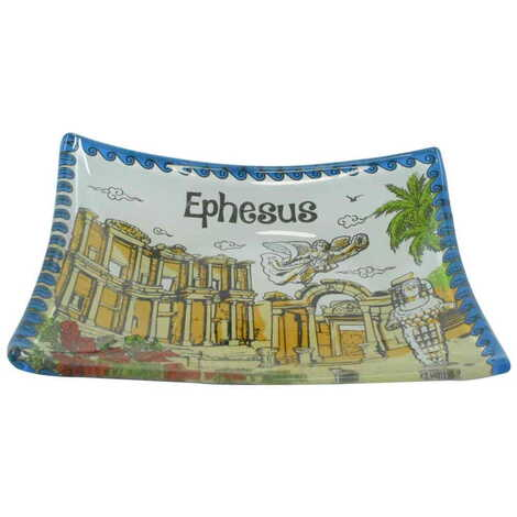 Efes Temalı Myros Dekoratif Cam Çerezlik 12X14 cm