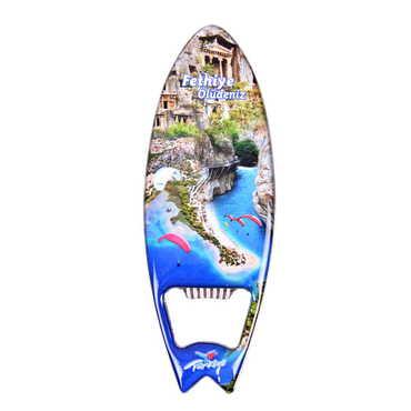 Fethiye Temalı Myros Metal Sörf Açacak Magnet 128x45 mm - Thumbnail