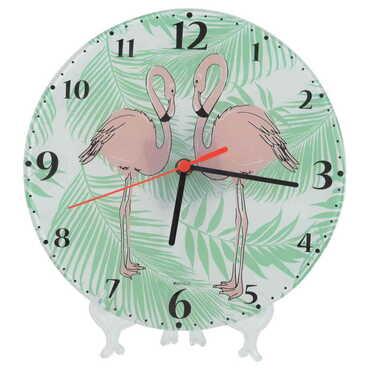 Flamingo Temalı Dekorlu Cam Saat 25 cm - Thumbnail