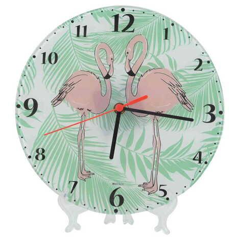 Flamingo Temalı Dekorlu Cam Saat 25 cm