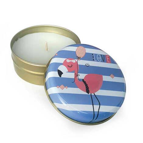 Flamingo Temalı Myros Metal Kapaklı Kokulu Love Mum 73x35 mm