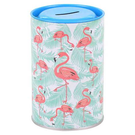 Flamingo Temalı Myros Metal Kumbara 83x83x125 mm