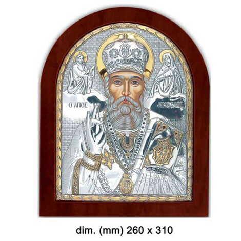Gümüş Serigrafili Aziz Nikolaos İkonası (260 x 310 mm)