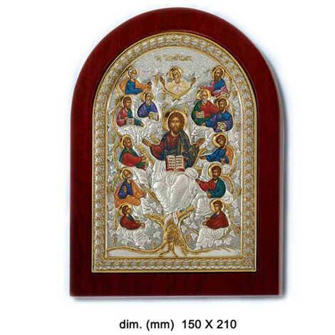 Gümüş Üzeri Altın Dekorlu Hayat Ağacı (Hz. İsa ve Havarileri) İkonası (190 x 140 mm)