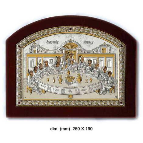 Gümüş Üzeri Altın Dekorlu Serigrafili Hz. İsa'nın Son Yemeği İkonası (250 x 190 mm)