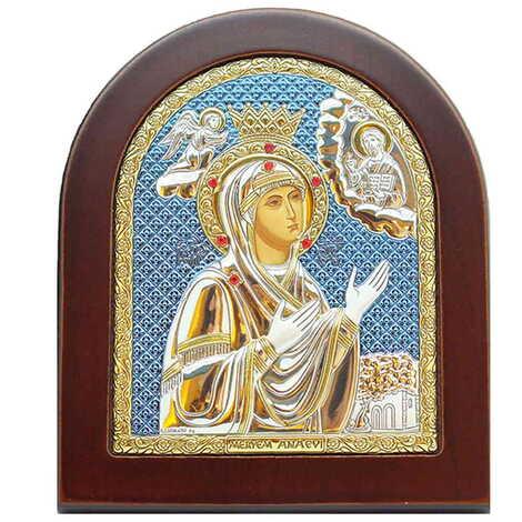 Gümüş Üzeri Altın Dekorlu Serigrafili Meryem Ana (Efes) İkonası (110 X 130 mm)