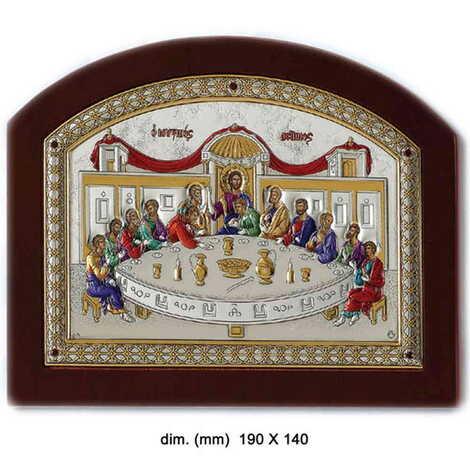 Gümüş Üzeri Altın Dekorlu ve Renklendirilmiş Serigrafili Hz. İsa'nın Son Yemeği İkonası (190 x 140 mm)