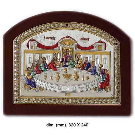 Gümüş Üzeri Altın Dekorlu ve Renklendirilmiş Serigrafili Hz. İsa'nın Son Yemeği İkonası (320 x 240 mm)