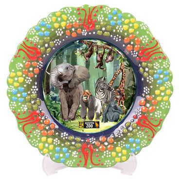 Hayvanat Bahçesi Temalı Çini Myros Resim Tabak 12 cm - Thumbnail