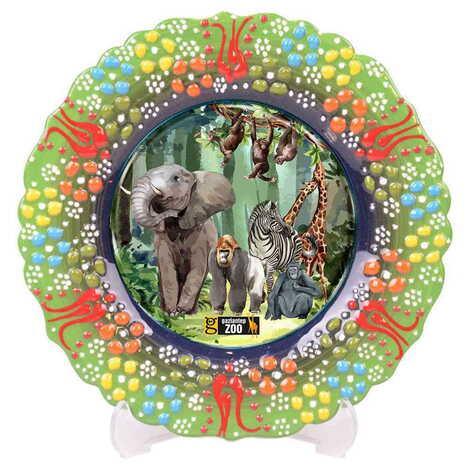 Hayvanat Bahçesi Temalı Çini Myros Resim Tabak 12 cm