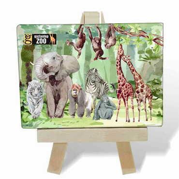 Hayvanat Bahçesi Temalı Kanvas Şövale Tablo 70x100 mm - Thumbnail