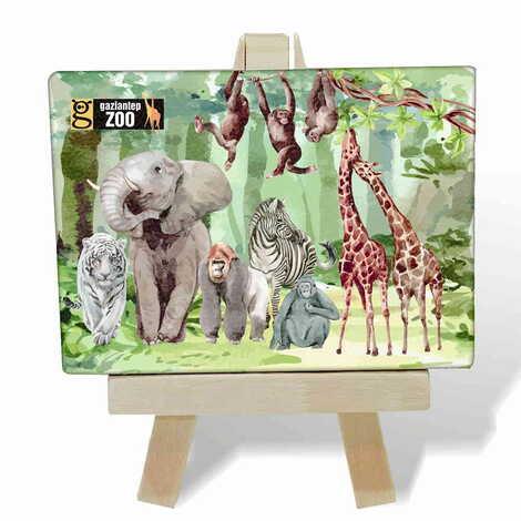 Hayvanat Bahçesi Temalı Kanvas Şövale Tablo 70x100 mm