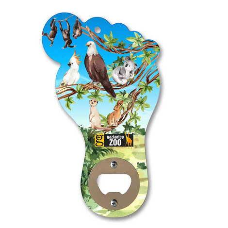 Hayvanat Bahçesi Temalı Myros Ahşap Ayak Açacak Magnet 160x92 mm