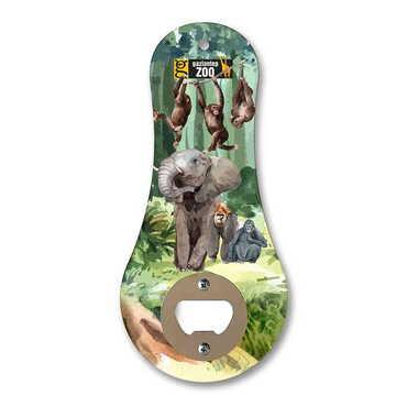 Hayvanat Bahçesi Temalı Myros Ahşap Klasik Açacak Magnet 170x79 mm - Thumbnail