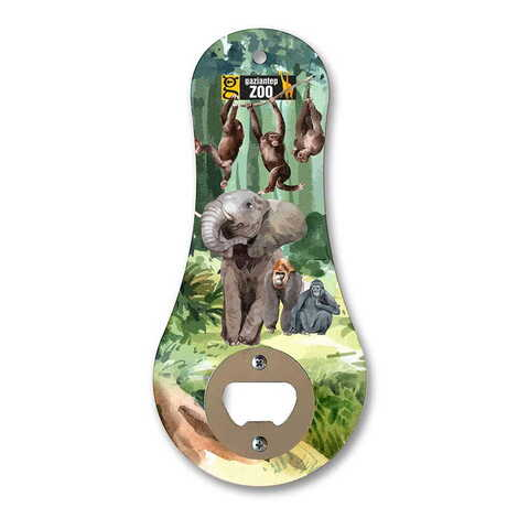 Hayvanat Bahçesi Temalı Myros Ahşap Klasik Açacak Magnet 170x79 mm