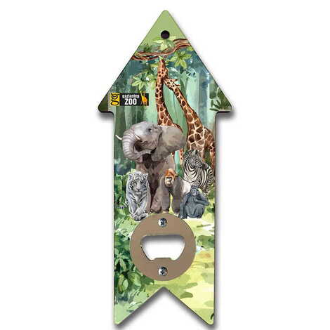 Hayvanat Bahçesi Temalı Myros Ahşap Ok Açacak Magnet 193x82 mm