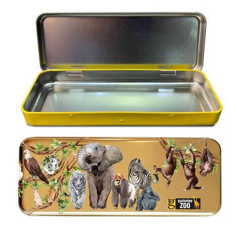 Hayvanat Bahçesi Temalı Myros Metal Kalem Kutusu 210x80x25 mm