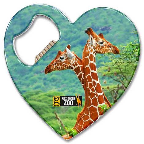 Hayvanat Bahçesi Temalı Myros Metal Kalp Açacak Magnet 85x76 mm