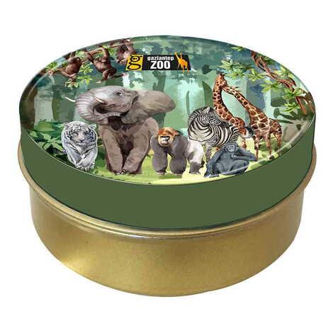 Hayvanat Bahçesi Temalı Myros Yuvarlak Metal Kutu 73x35 mm