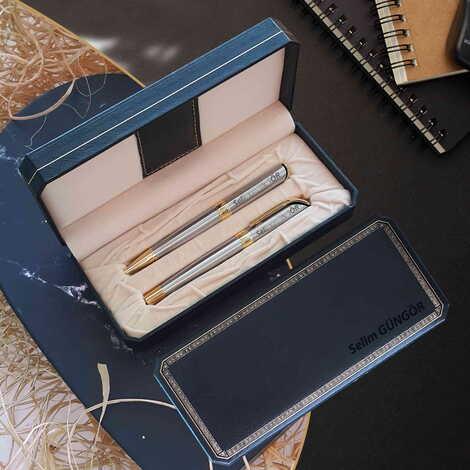 İsme Özel Altın Yaldızlı Metal Tükenmez Kalem Seti