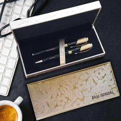 İsme Özel Altın Yaldızlı Siyah Metal Tükenmez Kalem Seti