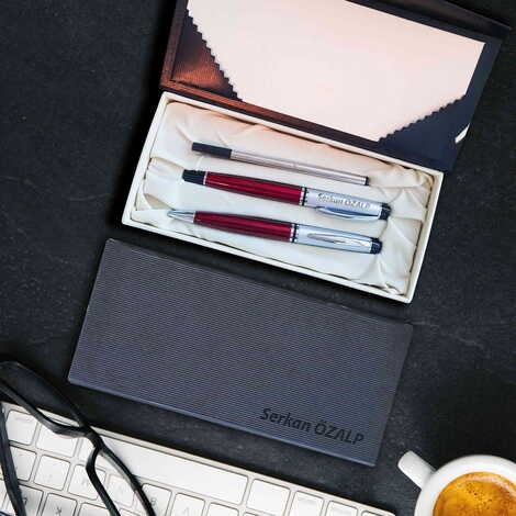 İsme Özel Bordo Metal Tükenmez Kalem Seti
