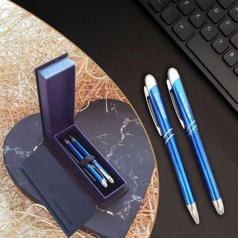 İsme Özel Metal Lacivert Tükenmez Kalem Seti