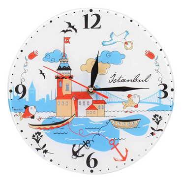 İstanbul Temalı Dekorlu Cam Saat 25 cm - Thumbnail
