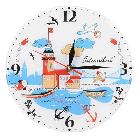 İstanbul Temalı Dekorlu Cam Saat 25 cm