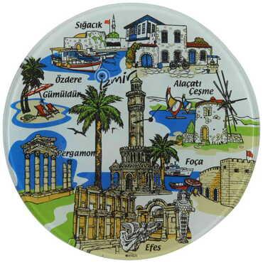 İzmir Bölgesi Temalı Cam Tabak 18 cm - Thumbnail
