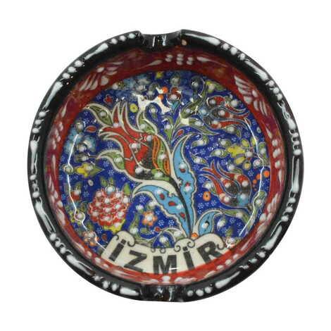 İzmir Temalı Çini Küçük Klasik Özel Kabartma Küllük