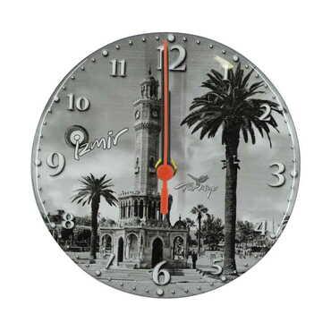 İzmir Temalı Myros Yuvarlak Saat 17 cm - Thumbnail