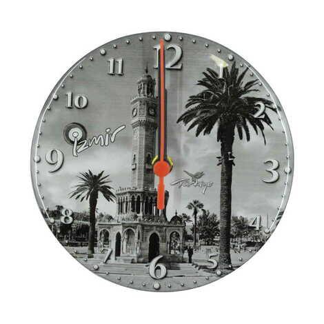 İzmir Temalı Myros Yuvarlak Saat 17 cm