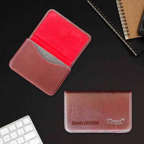 Kadına Özel İsme Özel Deri Pasaport Kartvizitlik