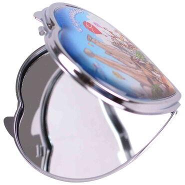 Kapadokya Temalı Myros Metal Kalp Ayna 70x65x8 mm - Thumbnail