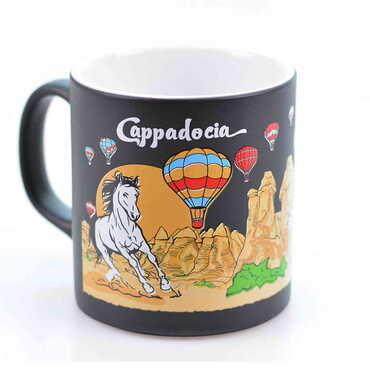 Kapadokya Temalı Seramik Renkli Baskılı Kupa 82x90 mm - Thumbnail
