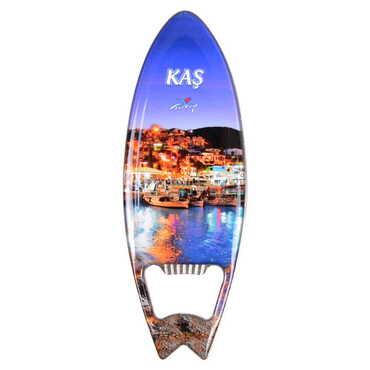 Kaş Temalı Myros Metal Sörf Açacak Magnet 128x45 mm - Thumbnail