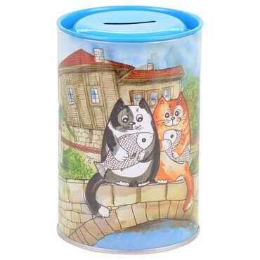Kedi Temalı Myros Metal Kumbara 83x83x125 mm - Thumbnail
