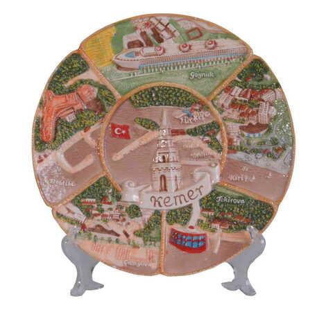 Kemer Bölgesi Temalı Seramik Kahverengi Tabak 26 cm