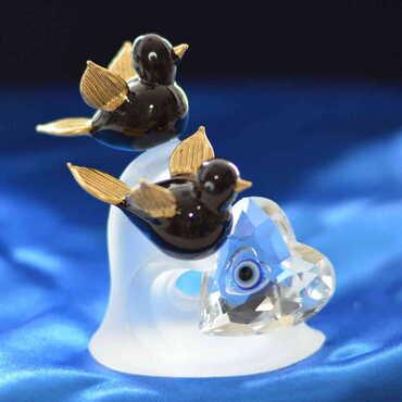Kristal Dalda İkili Kuş Biblo - Thumbnail