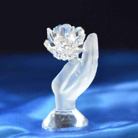 Kristal Elde Çiçek Biblo