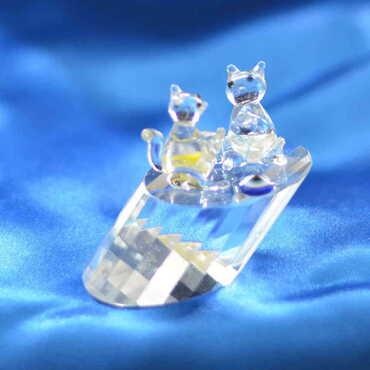 Kristal Kütükte İkili Sincap Biblo - Thumbnail