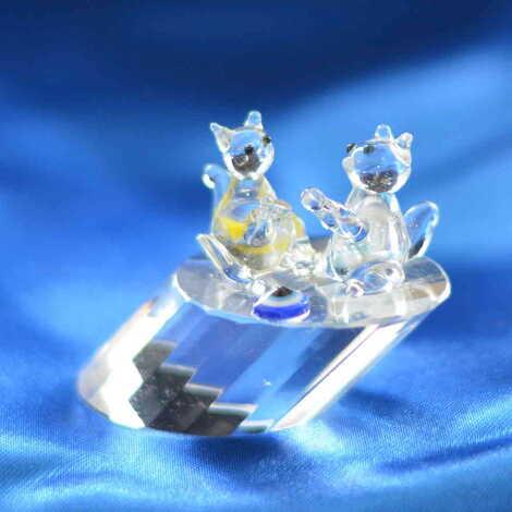 Kristal Kütükte İkili Sincap Biblo