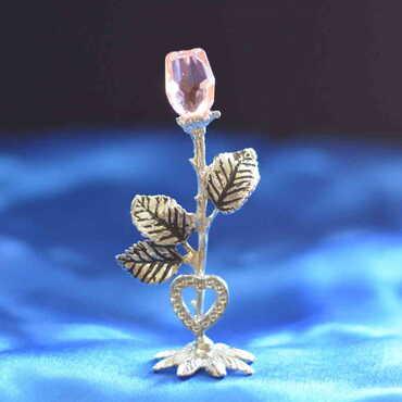 Kristal Metal Gül Biblo - Thumbnail