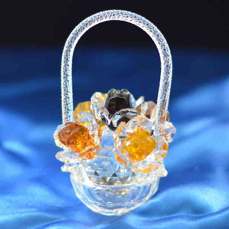 Kristal Renkli Çiçek Sepeti Biblo