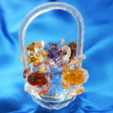 Kristal Renkli Çiçek Sepeti Biblo - Thumbnail