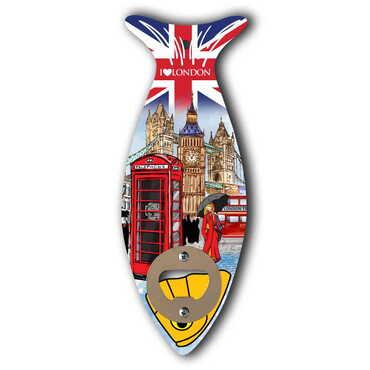 Londra Temalı Ahşap Balık Açacak Magnet 190x70 mm - Thumbnail