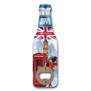 Londra Temalı Myros Ahşap Bira Şişesi Açacak Magnet 200x59 mm - Thumbnail