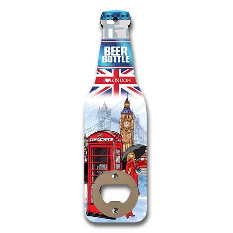 Londra Temalı Myros Ahşap Bira Şişesi Açacak Magnet 200x59 mm